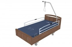 Lit BOX® médicalisé avec freinage centralisé, barrières et potence