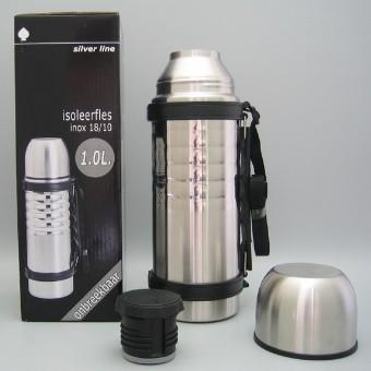 Bouteille isotherme en inox incassable avec bouchon à cliquet - 1 L| SenUp.com
