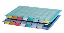 Plateau avec 8 piluliers - bleu