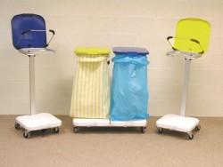 Support pour sac poubelle/linge avec couvercle - bleu
