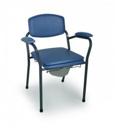 Chaise hygiénique fixe avec seau ergonomique en vinyl bleu
