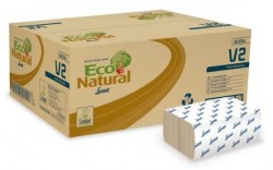 Carton de 3800 essuie-mains papier Eco Natural - 25 x 23 cm en pliage Z-Z