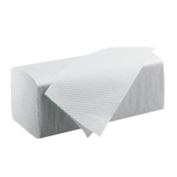 Carton de 3750 essuie-mains blancs - 25 x 23 cm en pliage Z-Z