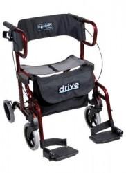 Déambulateur et chaise roulante pliable rouge - Drive Diamond Deluxe