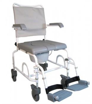 Chaise roulante de douche percée en époxy blanc (petites roues)