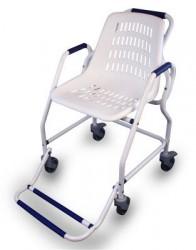 Chaise roulante de douche en époxy blanc
