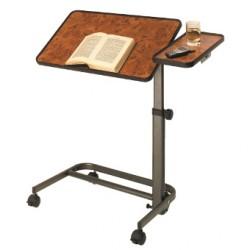 Table de lit réglable et inclinable avec tablette latérale fixe - Ronce de noyer
