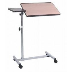 Table de lit réglable et inclinable avec tablette latérale fixe - Marron