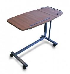 Table de lit réglable et inclinable avec tablette latérale fixe - Noyer d'avignon
