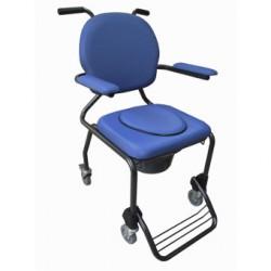 Chaise hygiénique avec roulettes vinyl bleu