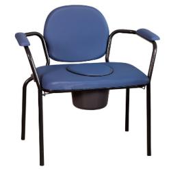 Chaise hygiénique fixe XL pour personnes fortes, en vinyl bleu (65cm)