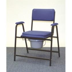 Chaise hygiénique fixe XL pour personnes fortes, en vinyl bleu (75cm)