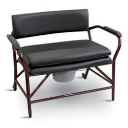 Chaise hygiénique fixe XL pour personnes fortes, en vinyl noir (80cm)