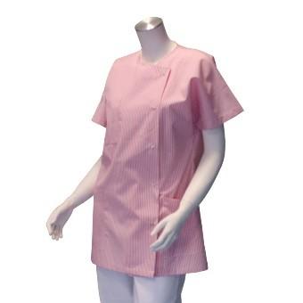 Veste d'infirmière pour femmes - Blanche rayée rose| SenUp.com
