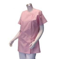 Veste d'infirmière - Blanche rayée rose