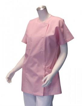 Veste d'infirmière pour femmes - Blanche rayée rose