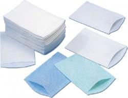 Paquet de 50 gants de toilette jetables présavonnés 75g/m² - 156 x 230 mm