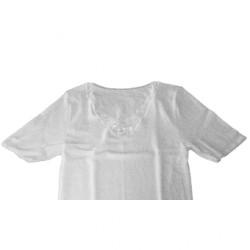 Chemise pour dames à manches courtes Peters - blanche avec motif