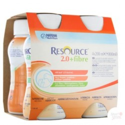 Nestlé Resource® 2.0 + Fibre - Pack de 4 x 200 ml - Abricot