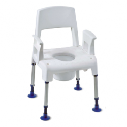 Chaise percée INVACARE Aquatec® Pico Commote - Tabouret + accoudoirs + dossier