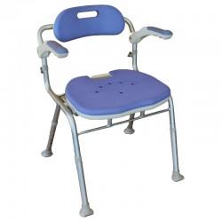 Chaise de douche pliante avec dossier, hauteur et accoudoirs ajustables - Tcare