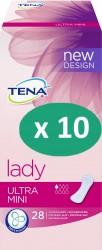 10 paquets de Tena Lady Ultra Mini