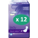Tena Lady Maxi Night - 12 paquets de 12 protections